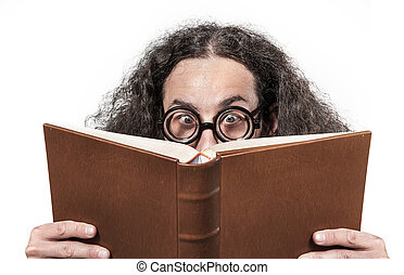 Eccentric, young nerd reading a book - Eccentric, young nerd...
