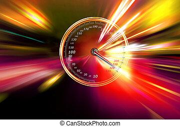 eccessivo, velocità, tachimetro