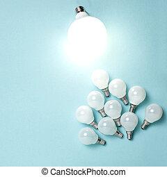 eccezionale, different., affari, luce, creatività, idea, uno, ardendo, bulbo, concepts.