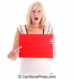 eccitato, donna aguzzando, a, rosso, segno