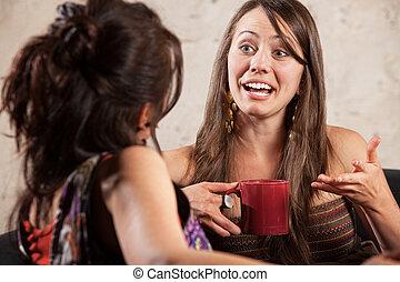 eccitato, donna parlando, con, amico