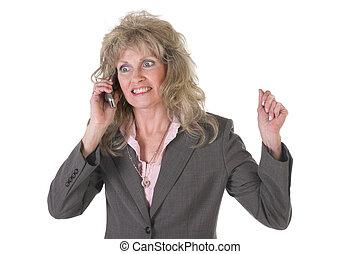 eccitato, esecutivo, donna affari, su, cellphone, 2