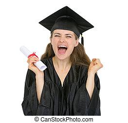 eccitato, graduazione, studente, ragazza, con, diploma