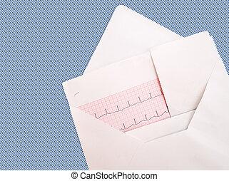 ecg, 심전도, 세부, 에서, envelope., 건강한 심혼, concept.