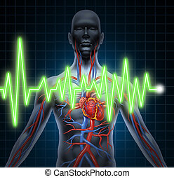 ECG and EKG cardiovascular system monitoring with heart anatomy from a healthy body on black background with blue grid as a medical health care symbol of an inner vascular organ as a medical chart.