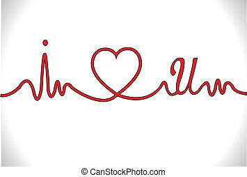 ecg, batida coração, amor, tu