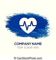 ecg, blauwe , -, watercolor, achtergrond, pictogram