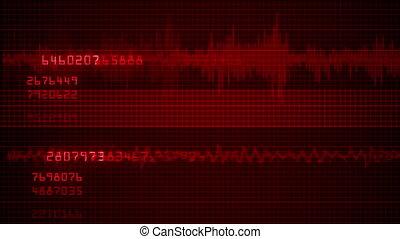 E.C.G. Cardiac impulse sequence on medical monitor 4k