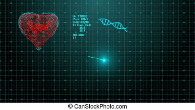 ECG cardiac monitor goes flat line. ECG showing a pulsing heart rate. High quality, full 4K animation. Symbol of the heart filled with fluid. The concept of recovery after medical treatment