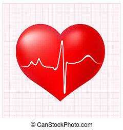 ecg, coração, checkered, saudável, cardiograma, fundo