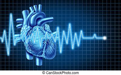ecg, corazón, ekg, gráfico