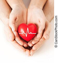ecg, corazón, línea, manos de valor en cartera