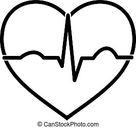 ecg, cuore, nero, bianco, minimo, icona