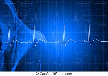 ECG - Digital illustration of heart monitor screen with ...
