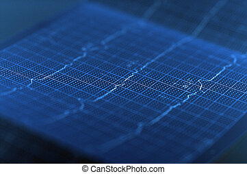 ECG Electrocardiogram - Heart beats on the cardiogram, BLUE...