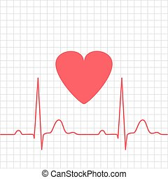 ECG - electrocardiogram with heart