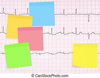 ecg, elektrokardiogramm, detail, gesundes herz, begriff, usw, mit, viele, klebrig, notizen.