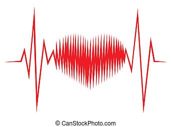 ecg, forma corazón, línea