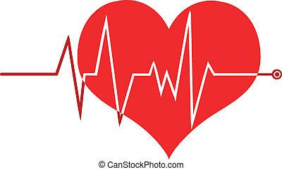ecg, gráfico, ligado, coração vermelho