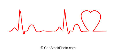 ECG graph with heart