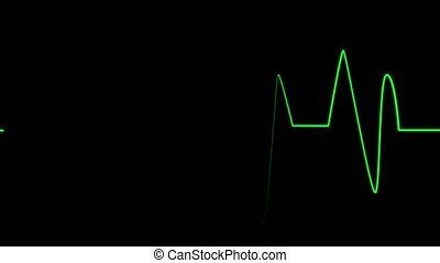 ECG heart beat monitor - Green life pulse on black monitor...