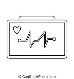 ecg heart machine medical device thin line