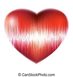 ecg, hjärta, eps, bakgrund, heartbeat., 8, röd