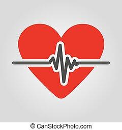 ecg, lakás, szív, kardiológia, jelkép, kardiogram, ikon,...