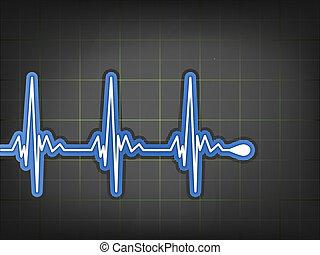 ecg, monitor., eps, elektrokardiogram, 8