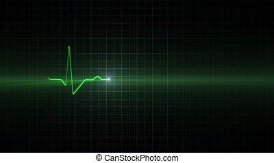 ECG monitoring cardiogram - Green line of the cardiogram...