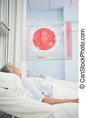 ecg, paciente, cama hospital, mentindo, dados, exposição, futurista