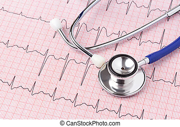 ecg, print-out, stethoscope