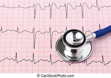 ECG printout and stethoscope - Photo of an electrocardiogram...