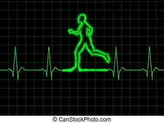 ECG Runner - Illustration of a person running on a heart...