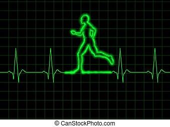 ECG Runner - Illustration of a person running on a heart ...