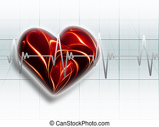 ECG - red heart on an electrocardiogram graph - a symbol of...