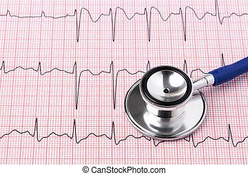 ecg, utskrift, och, stetoskop