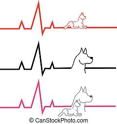 ECG with dog on white background