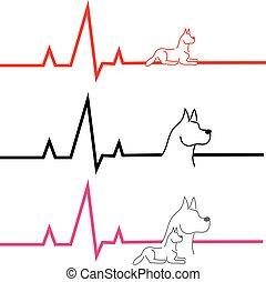 ECG with dog on white background. Vector illustration.