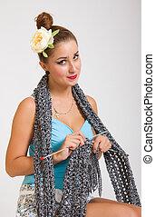 echarpe, mulher, tricotando, jovem, pinup