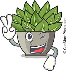 echeveria, deux, vert, doigt, cactus, dessin animé, vue