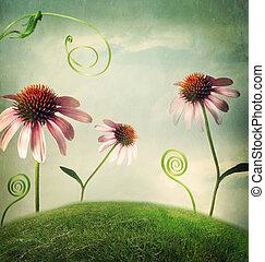 echinacea, flores, en, fantasía, paisaje