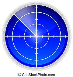 Echolocation radar sensor, vector art illustration.