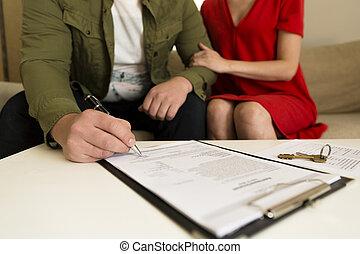echte, aankoop, ondertekening, landgoed, paar, jonge, contract., vrolijke