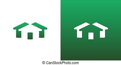 echte, abstract, huisvesting, symbool, landgoed