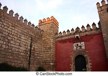 echte, alcazar, gate., ingang, spain., leeuw, seville