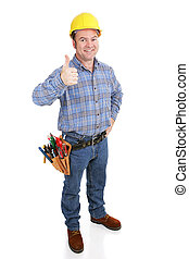 echte, arbeider, bouwsector, -, thumbsup