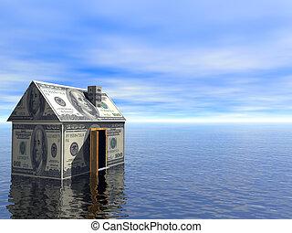 echte, blauwe , concept, landgoed, woning, dollar, bewolkt, water, 3d, hemel