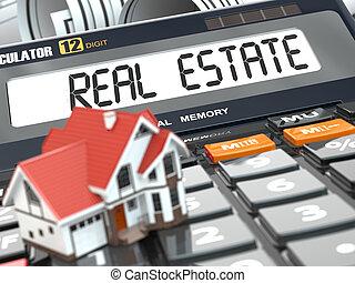 echte, calculator., landgoed, woning, concept., mortgage.