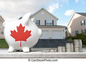 echte, concept, landgoed, bank, woning, canadees, investering, piggy, achtergrond, muntjes, opperen